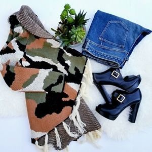 Love J Open Camouflage Poncho Sweater